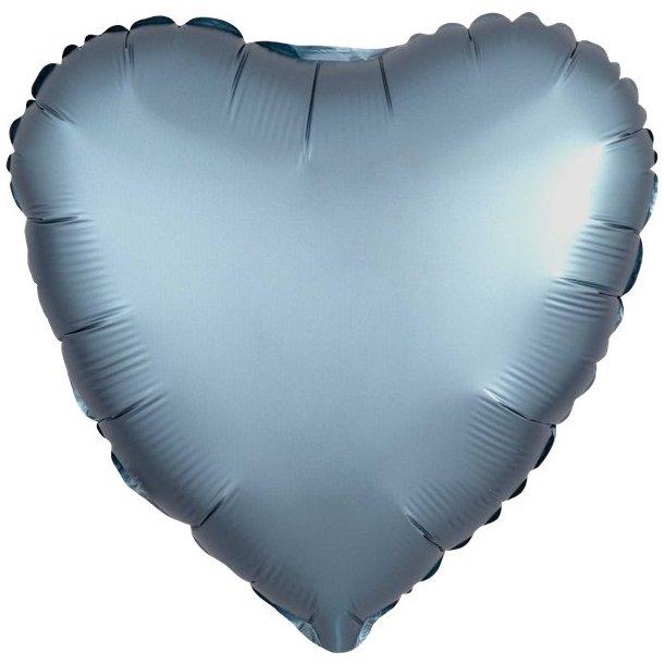 Hjerte Ballon, Blå Satin