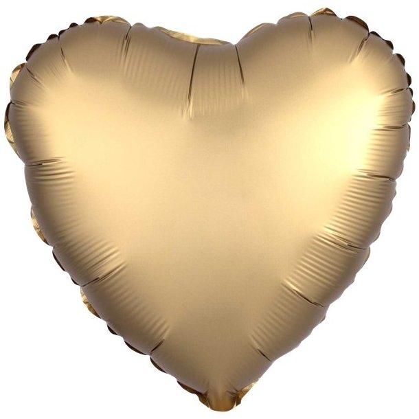 Hjerte Ballon - Guld Satin
