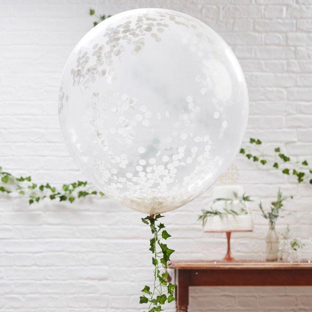 Kæmpe Konfetti Balloner - Hvide