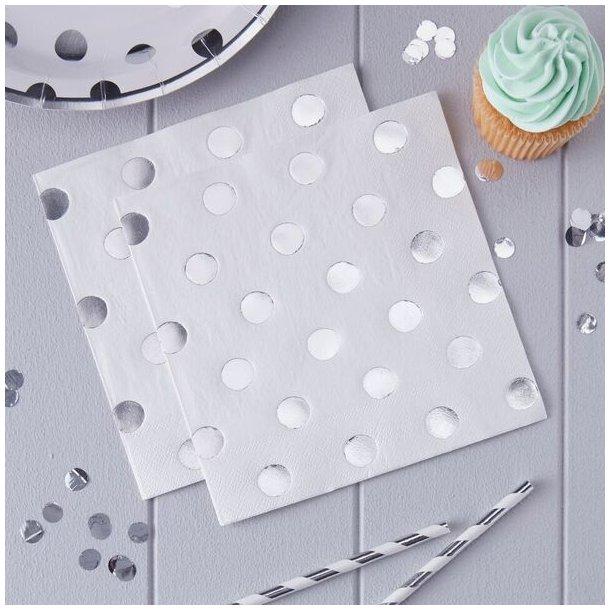Pick & Mix - Hvide servietter med sølvprikker
